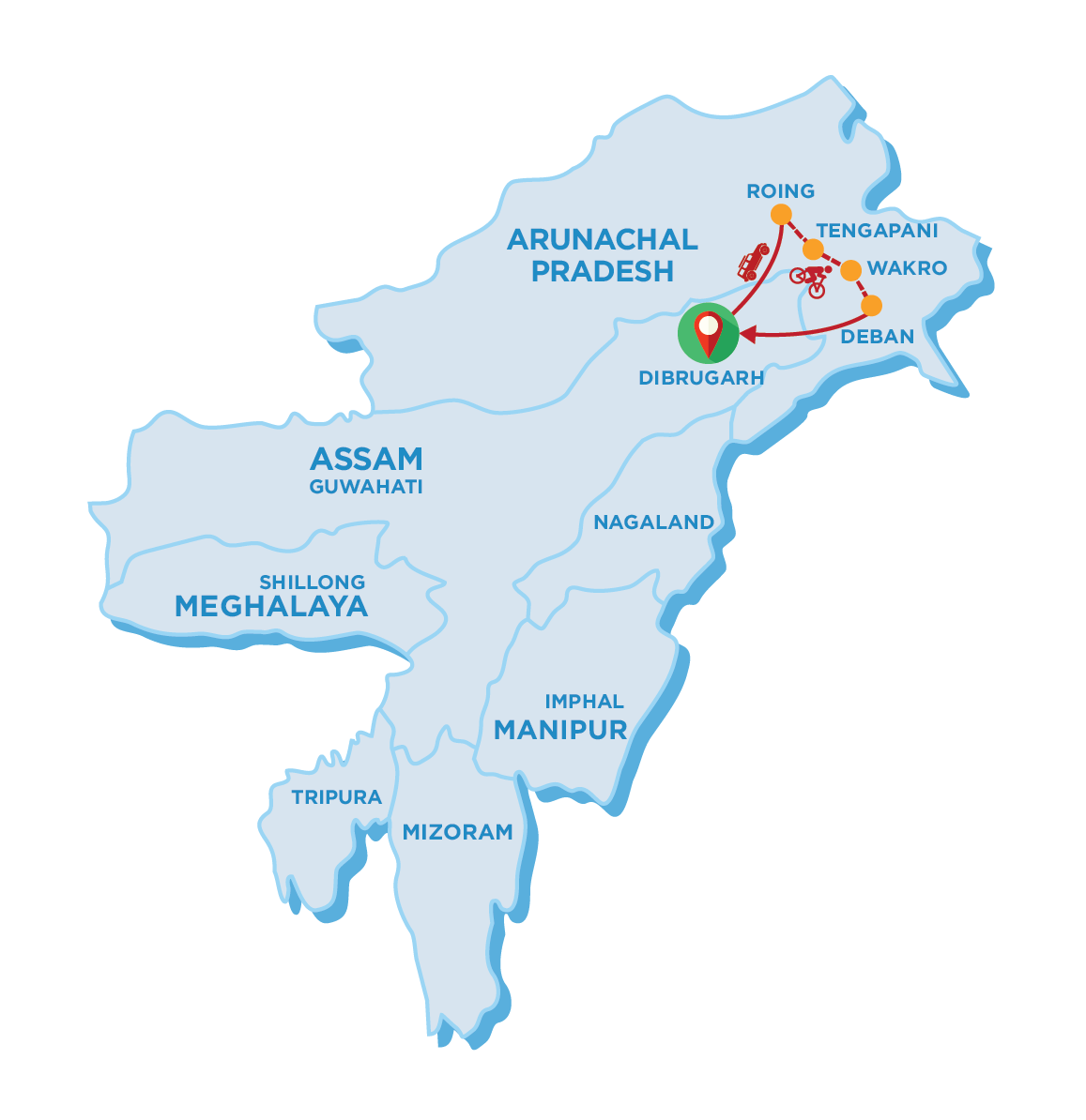 Tour Map of Eastern Arunachal Pradesh