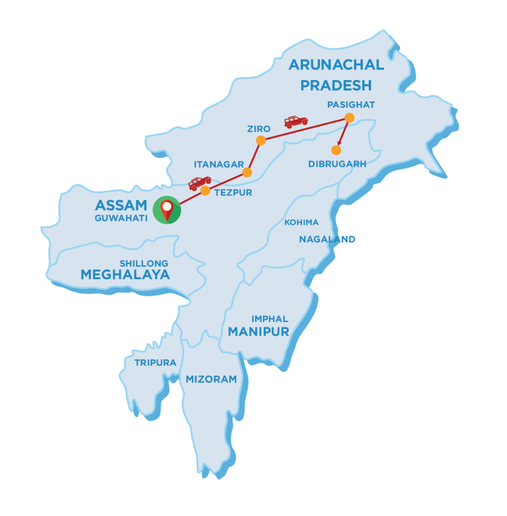 Tour Map of Central Arunachal Pradesh