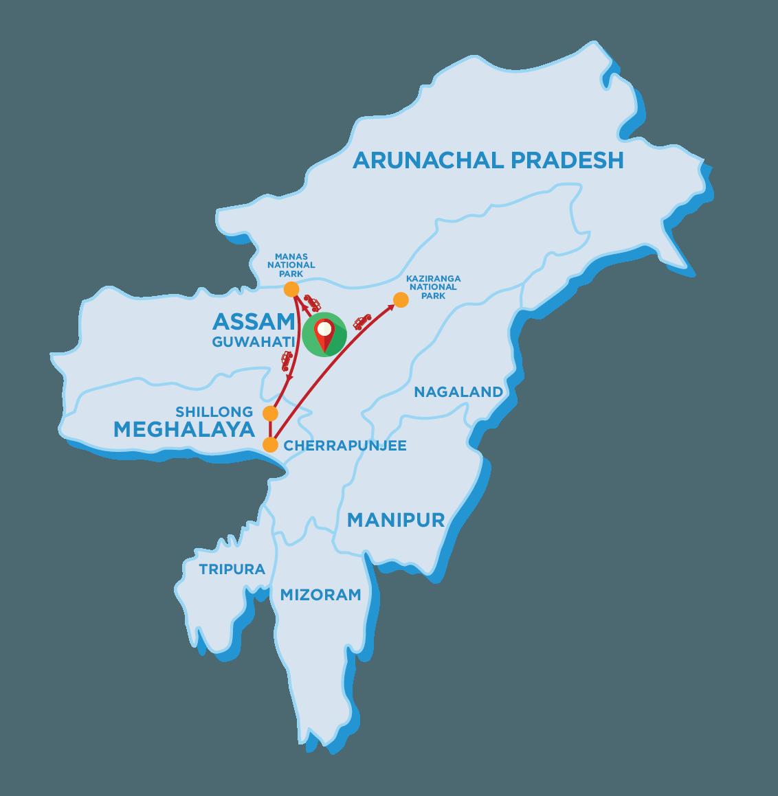 Tour Map of Kaziranga National Park