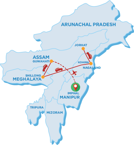 Tour Map of Kohima and Imphal